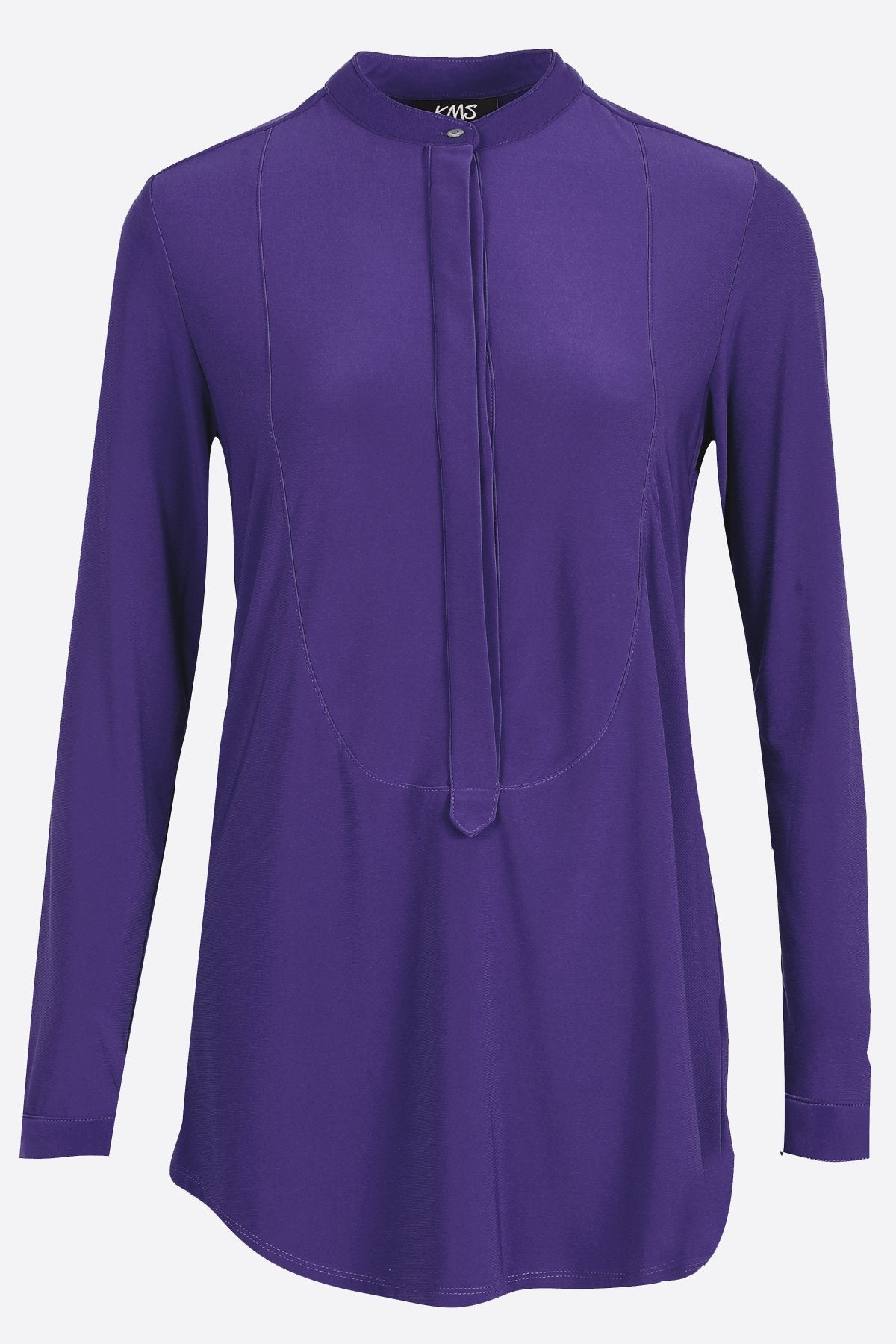 Women's Purple Long Sleeve Half Button Down Shirt Rosarini