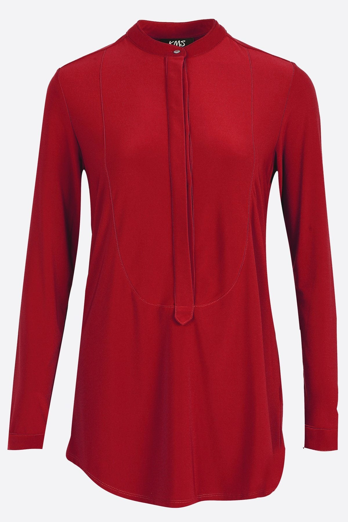 Women's Dark Red Long Sleeve Half Button Down Shirt Rosarini