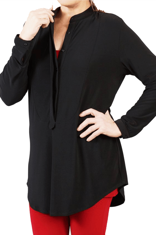 LONG SLEEVE HALF BUTTON DOWN SHIRT BLACK