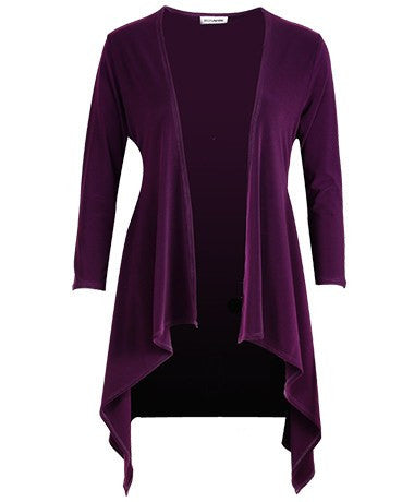 Women's Wine Long Sleeve Contour Cardigan Rosarini