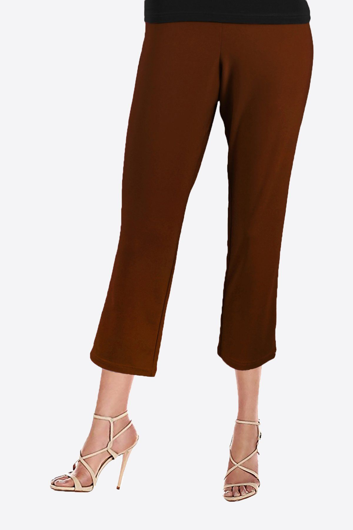 Women's Brown 3/4 Capri Pants Rosarini