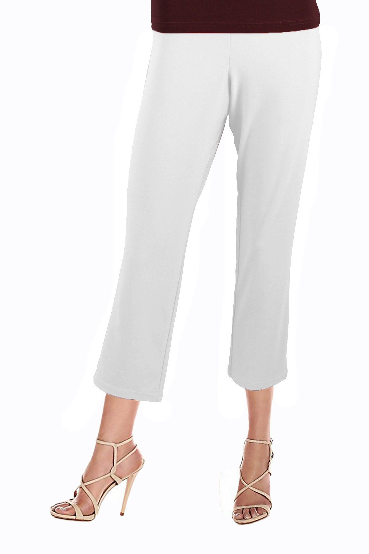 Women's White 3/4 Capri Pants Rosarini