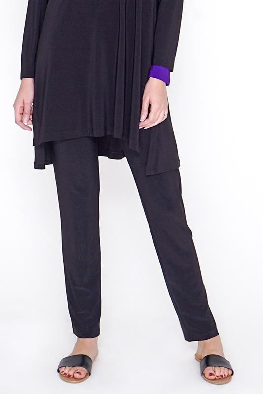 Women Black Slim Pants (Plus Size)