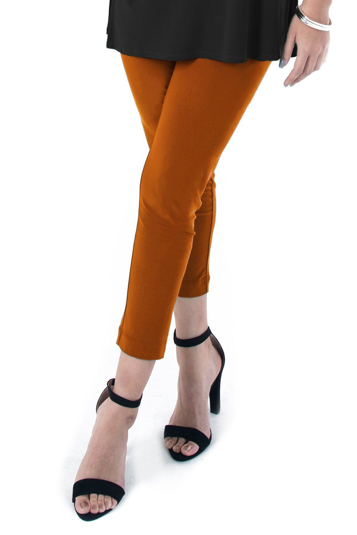 PLUS SIZE SLIM CROPPED PANTS sunset