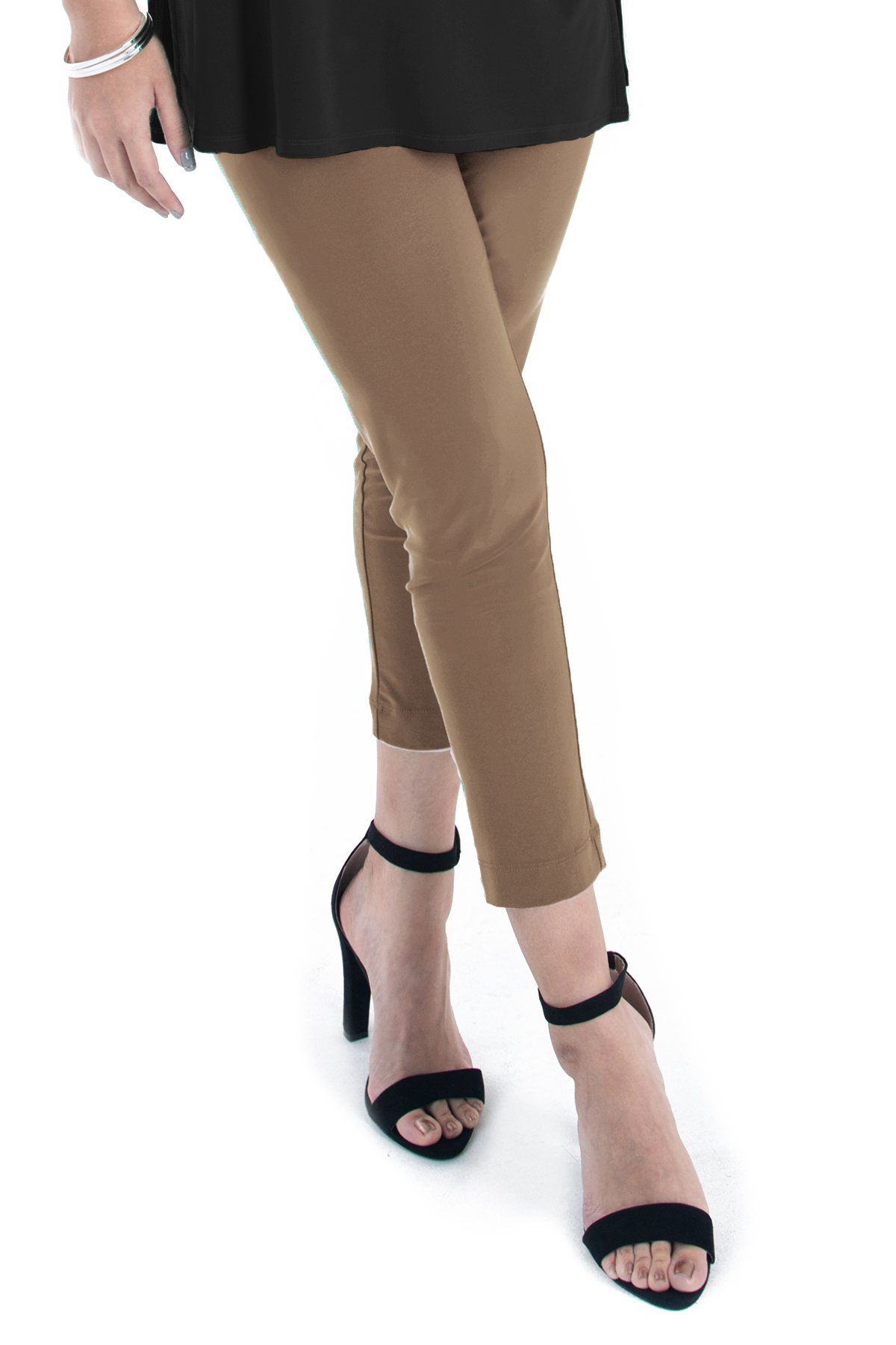 PLUS SIZE SLIM CROPPED PANTS Taupe