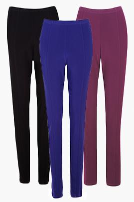 Women's Wine High Waisted Travel Pants with Front Seam Rosarini