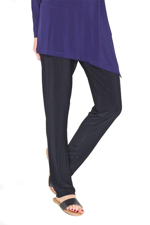 Women's Black High Waisted Travel Pants with Front Seam Rosarini