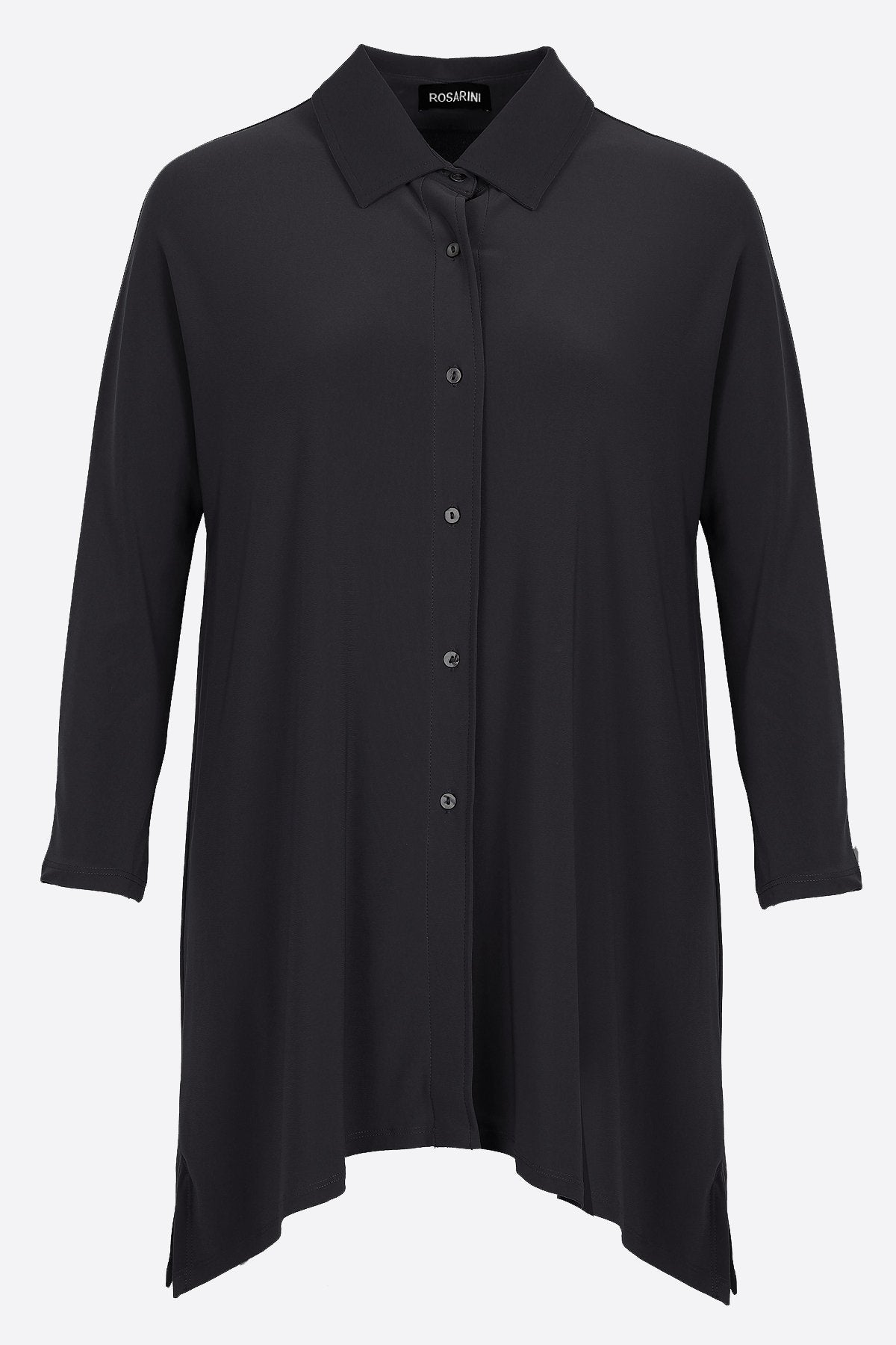 Women's Black Button Shirt with Curved Hem 3/4 Sleeves Travel Shirt Rosarini