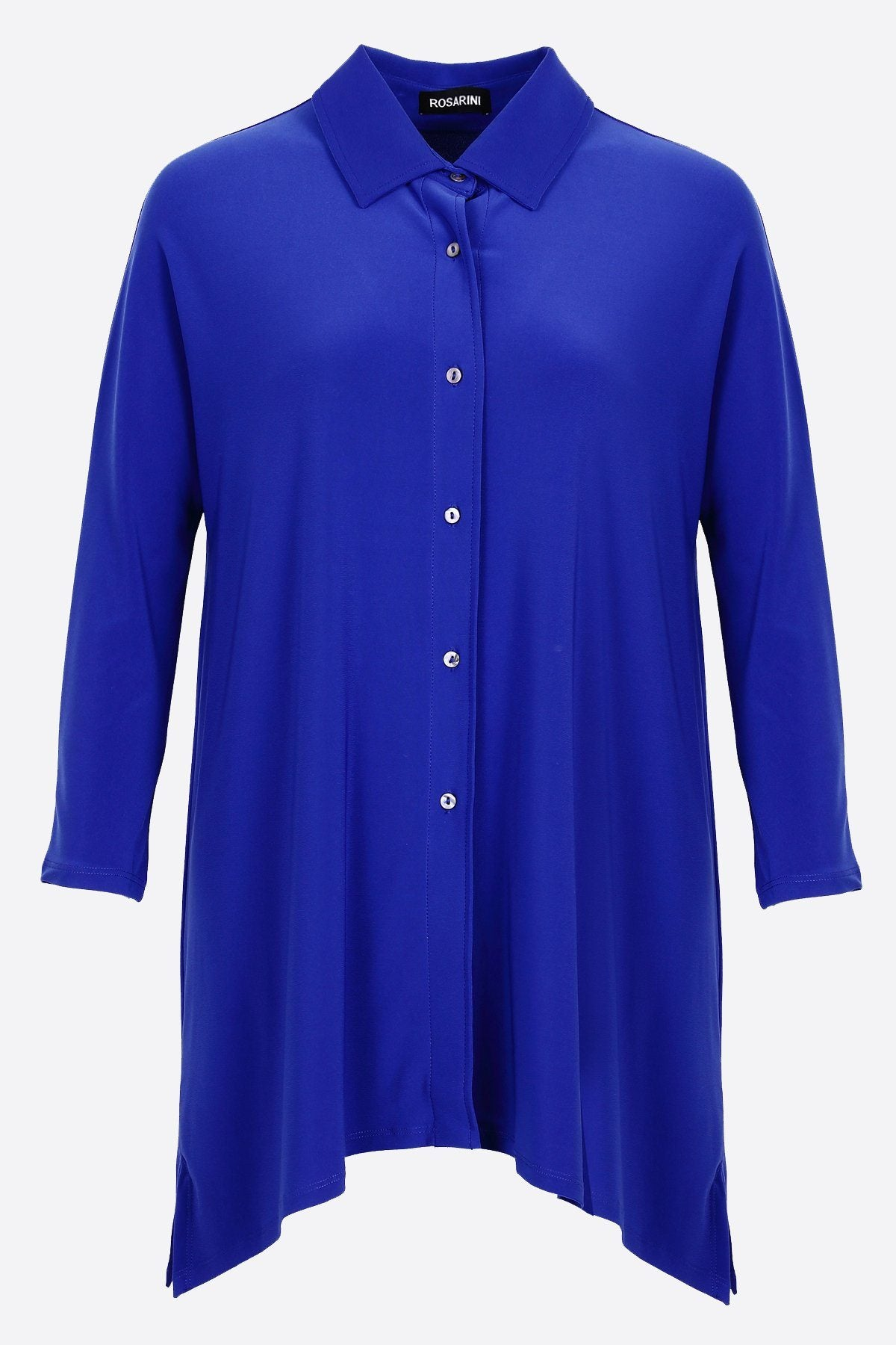 Women's Blue Button Shirt with Curved Hem 3/4 Sleeves Travel Shirt Rosarini