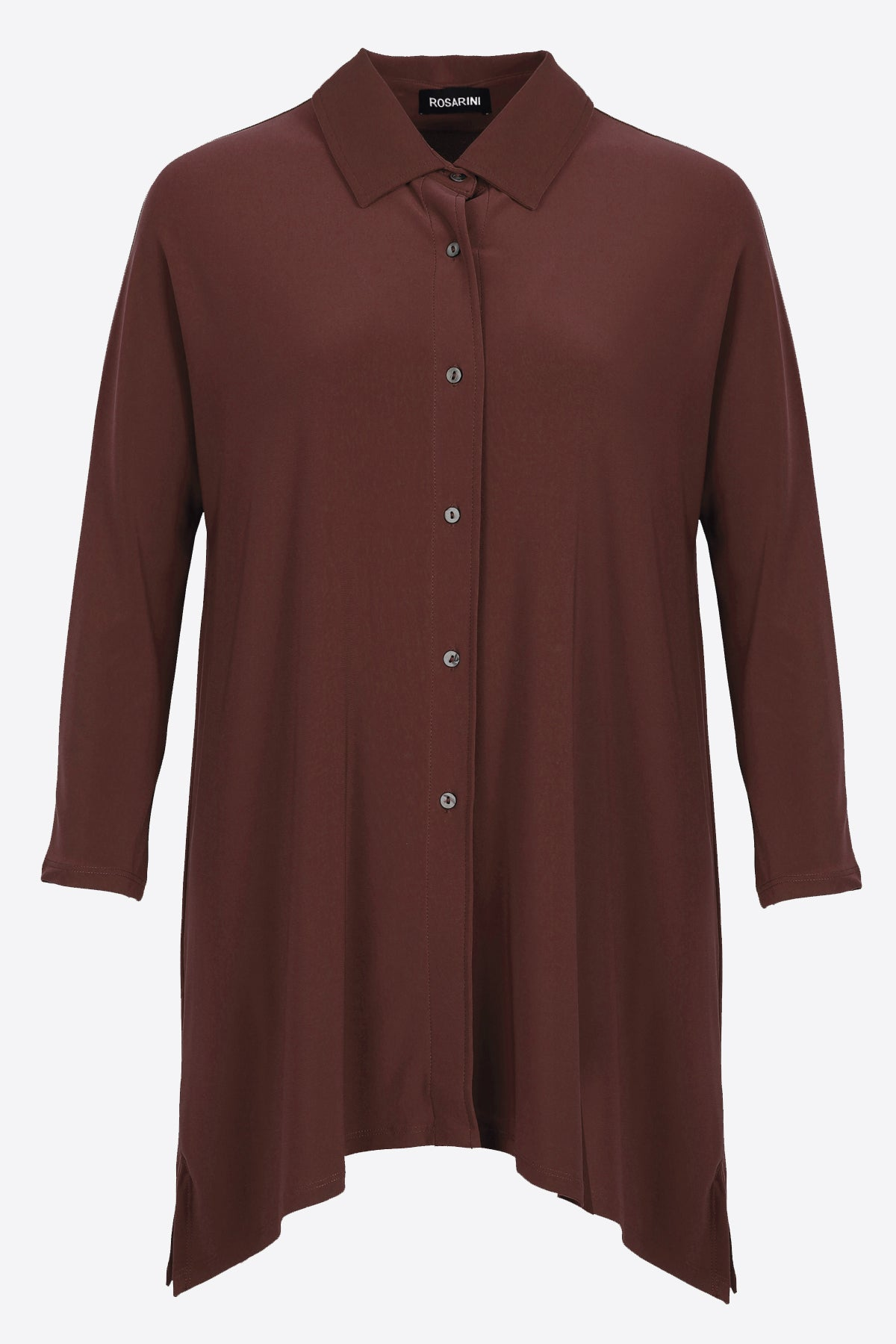 Women's Chestnut Button Shirt with Curved Hem 3/4 Sleeves Travel Shirt Rosarini