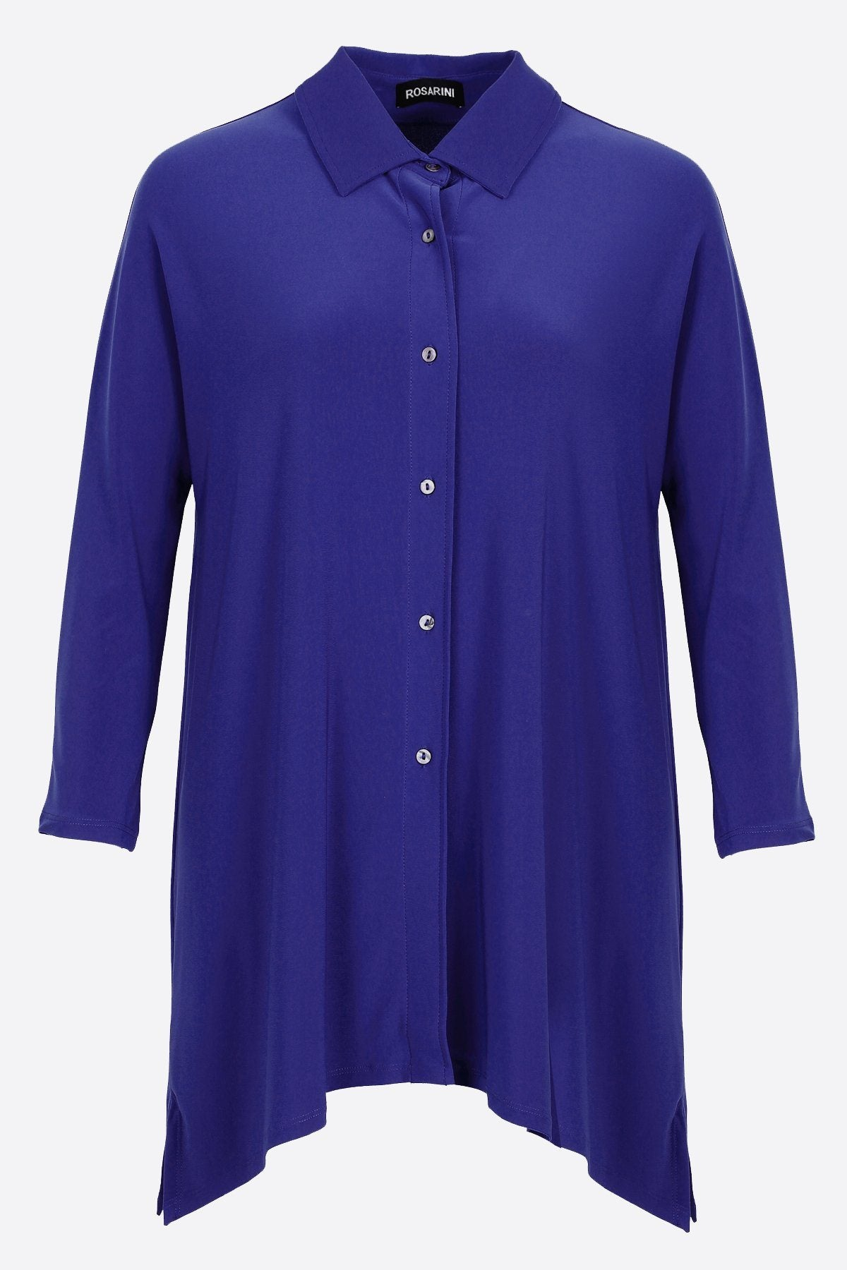 Button Shirt with Curved Hem Navy