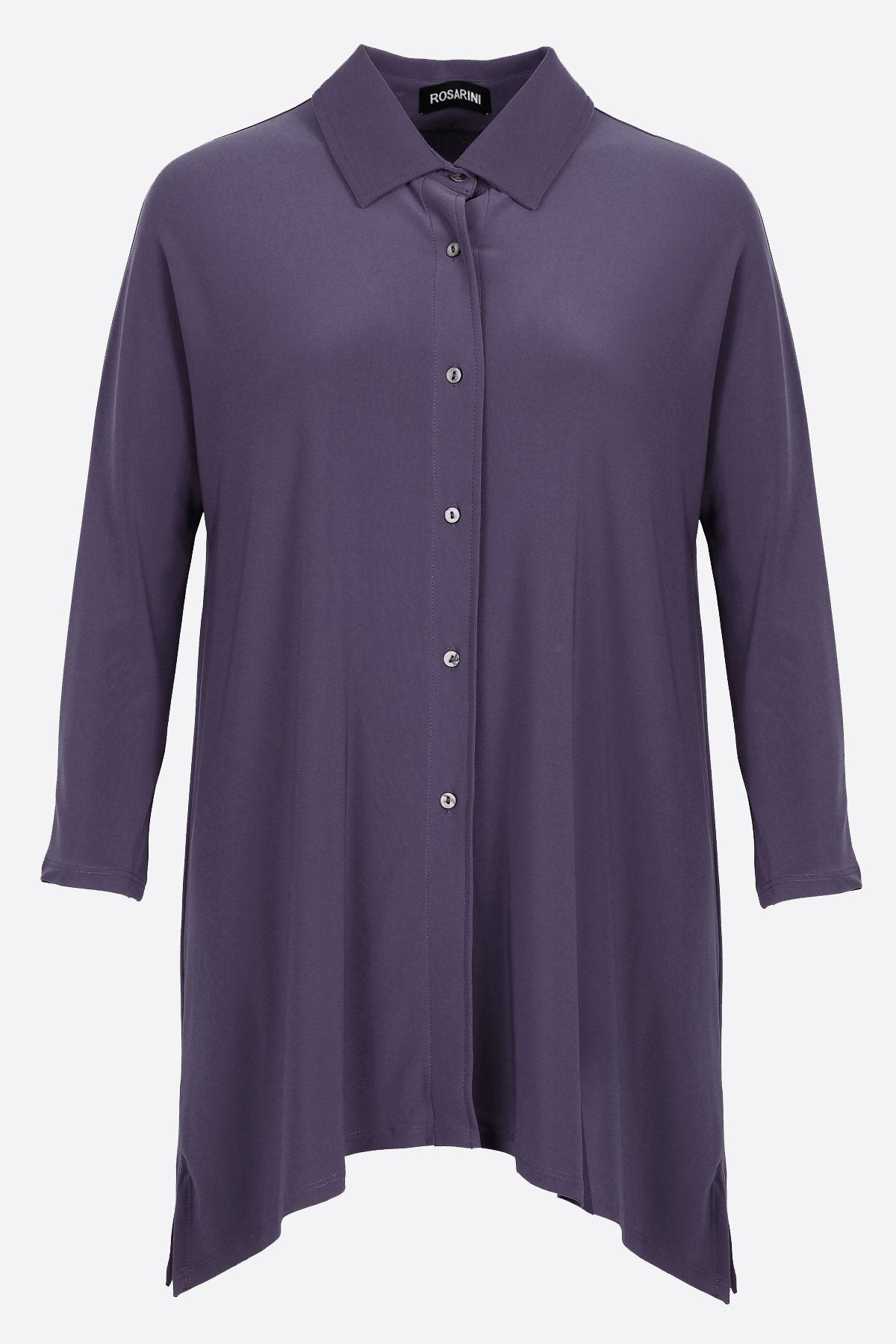 Women's Slate Button Shirt with Curved Hem 3/4 Sleeves Travel Shirt Rosarini
