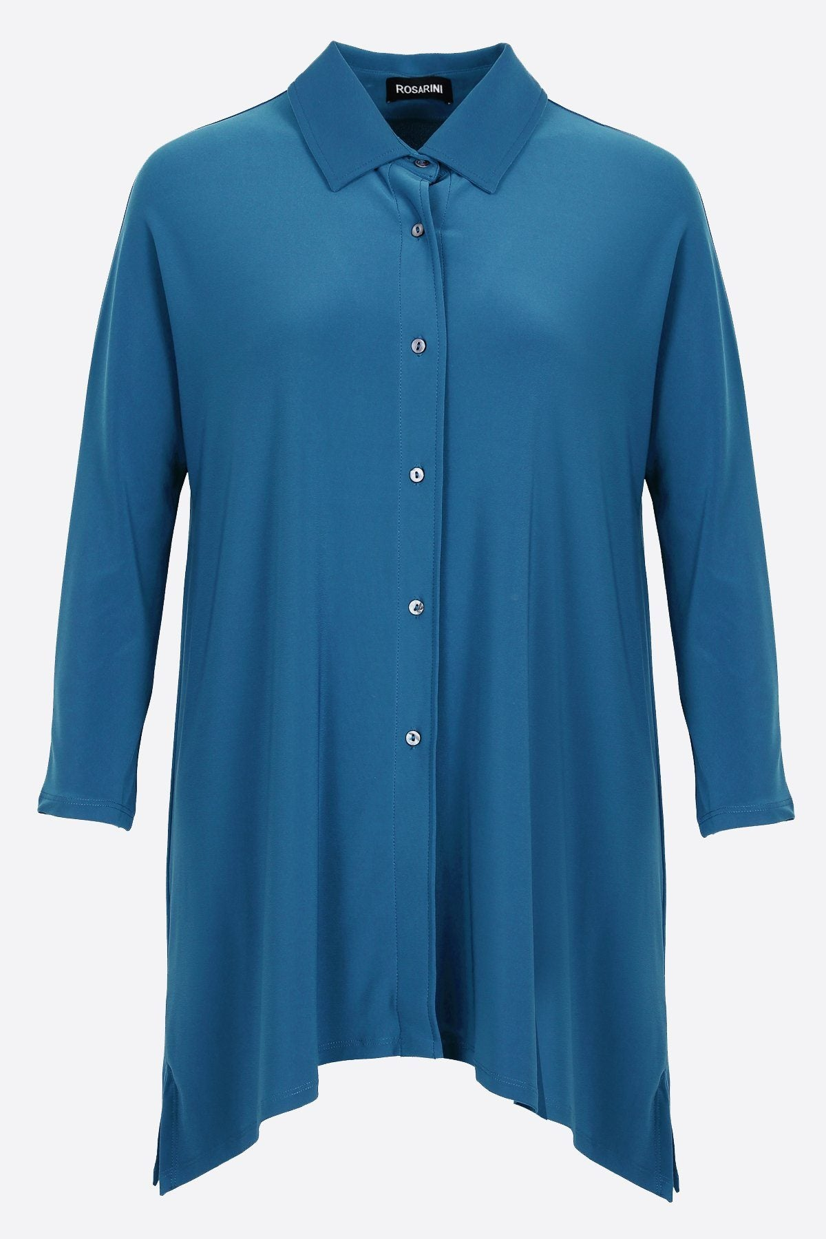 Women's Teal Button Shirt with Curved Hem 3/4 Sleeves Travel Shirt Rosarini