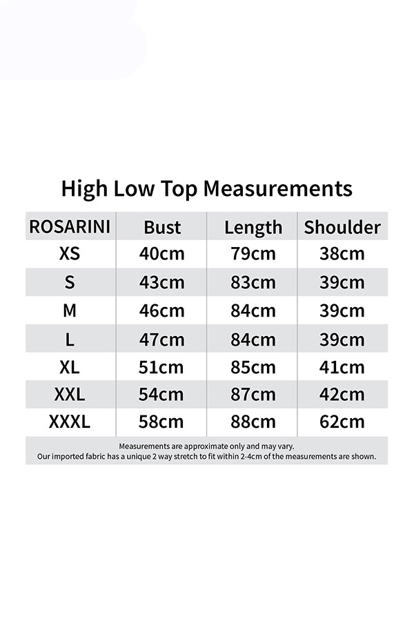 High Low Top Size Chart