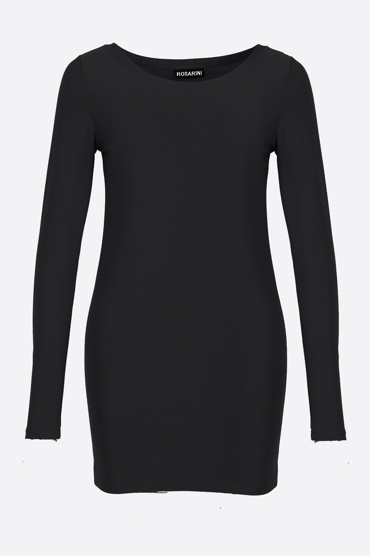 Women's Long Sleeve Crew Neck Top Black Rosarini