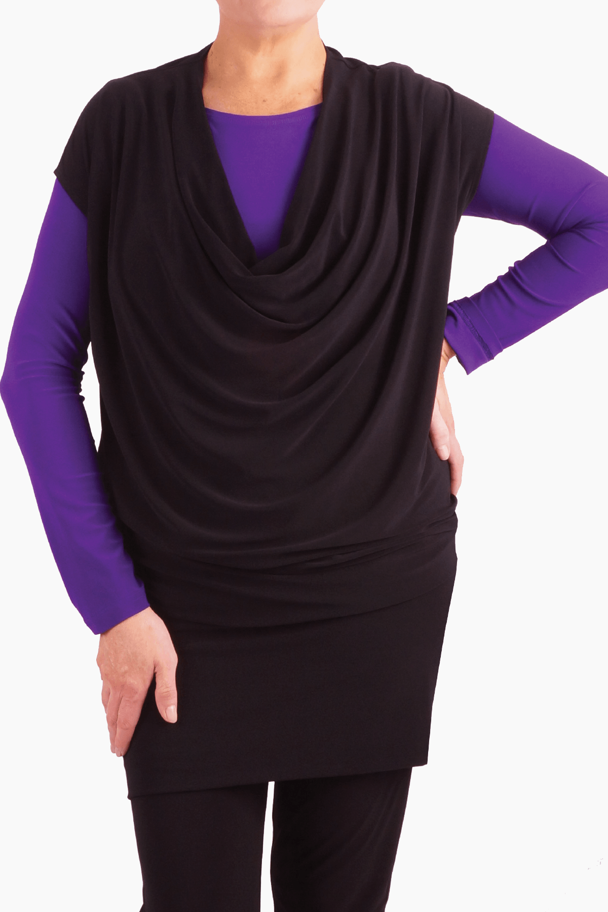 Women's Long Sleeve Crew Neck Top Purple Rosarini