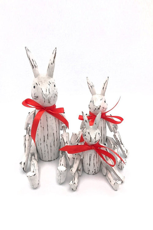 Set of 3 Wooden Rabbits