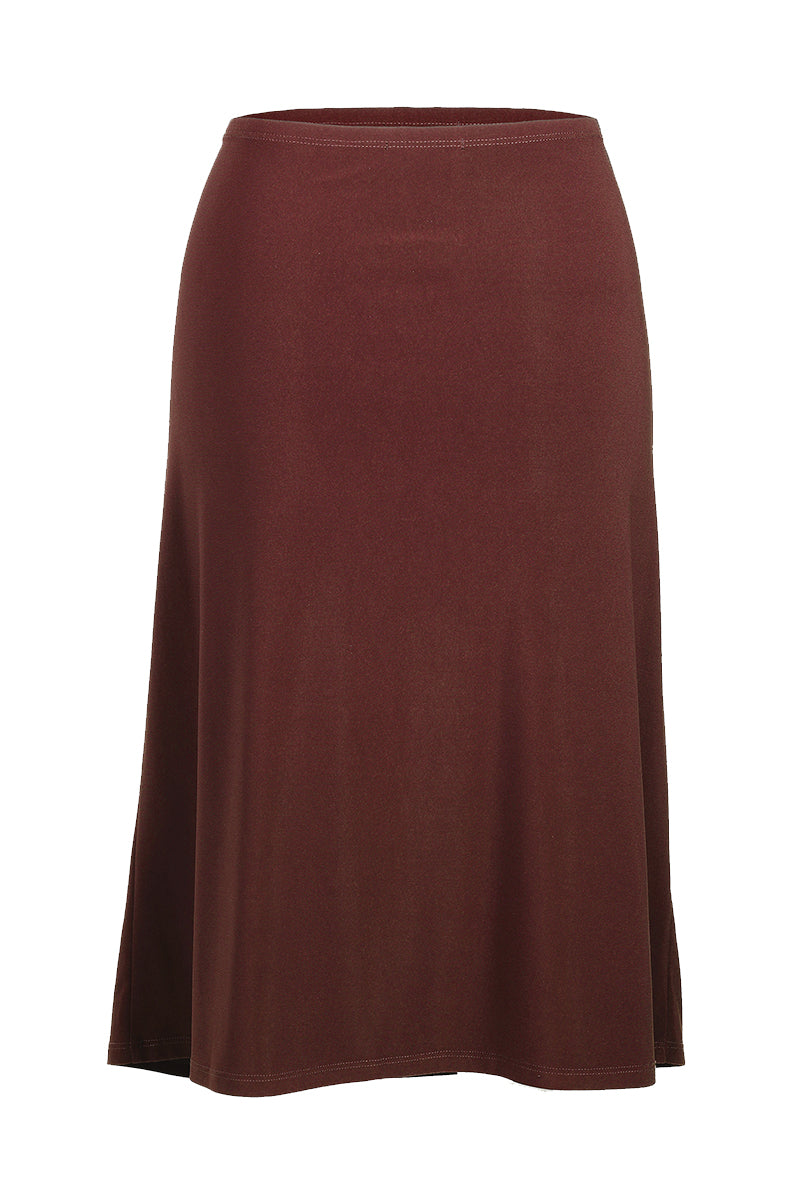 Women's Brown A-Line Midi Skirt Rosarini