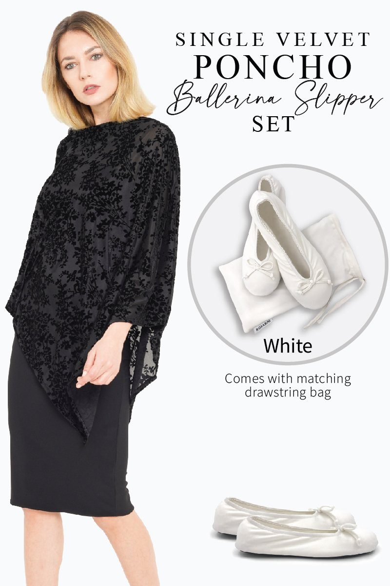 Women's Black Single Velvet Poncho White Ballerina Slipper