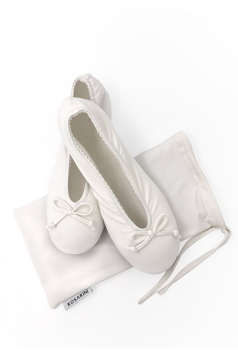 Ballerina Slippers - White - Women's Clothing -ROSARINI