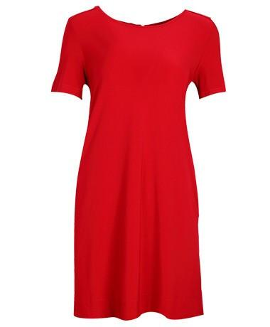Short Sleeve A-Line Shift Dress With Pocket red
