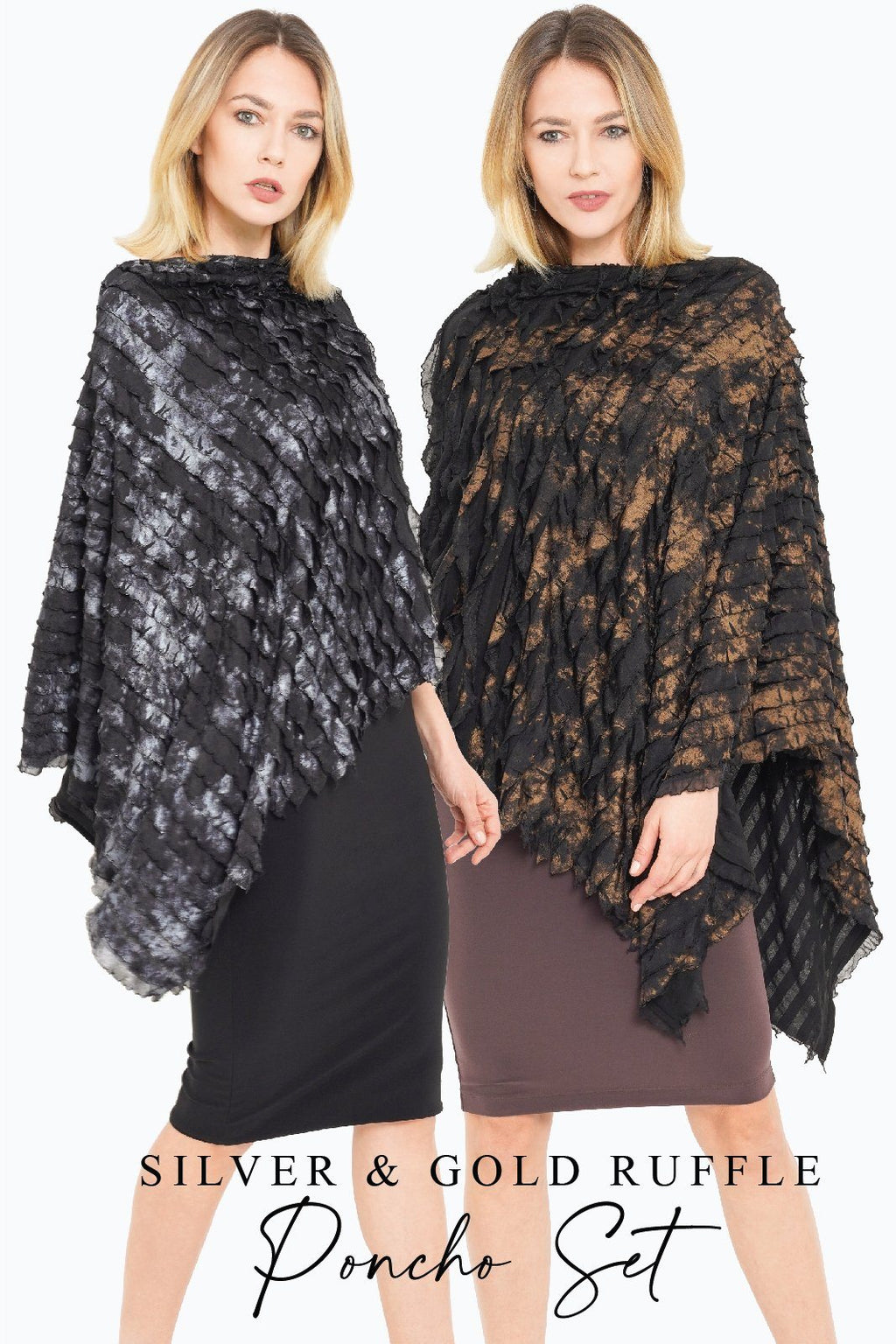 Women's Silver and Gold Ruffle Poncho Gift Set Pack