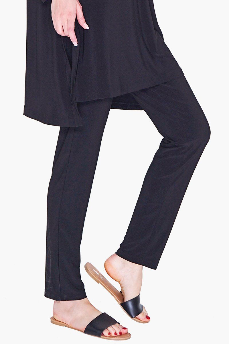 Women's Pull On Black Slim Pants