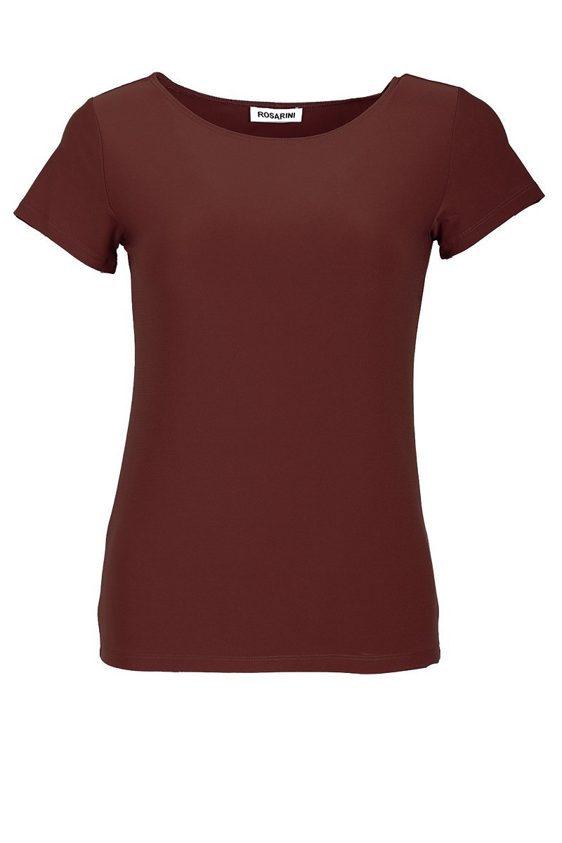 Women's Brown Basic T-Shirt Short Sleeve Rosarini