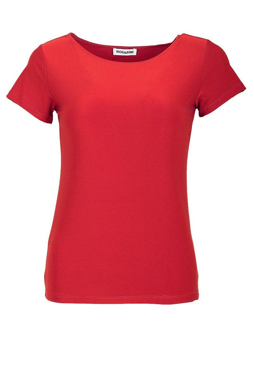 Women's Red Basic T-Shirt Short Sleeve Rosarini