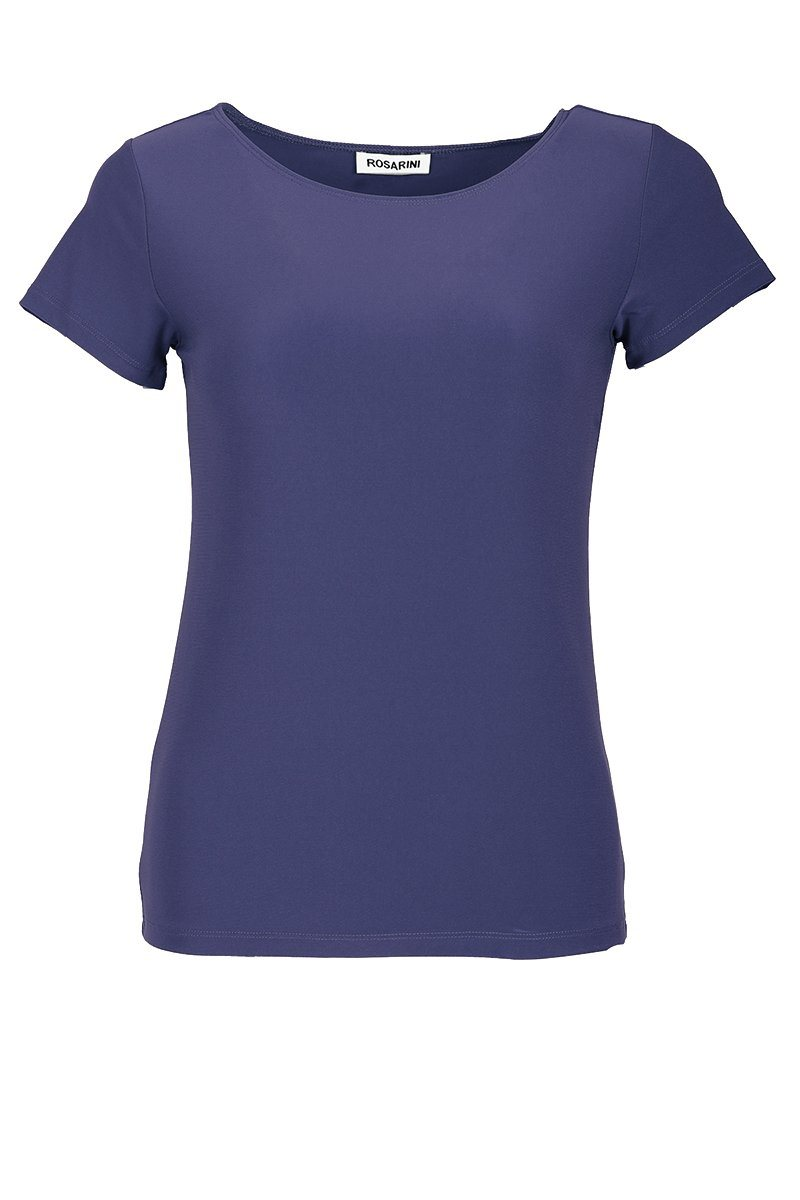 Women's Dusty Blue Basic T-Shirt Short Sleeve Rosarini