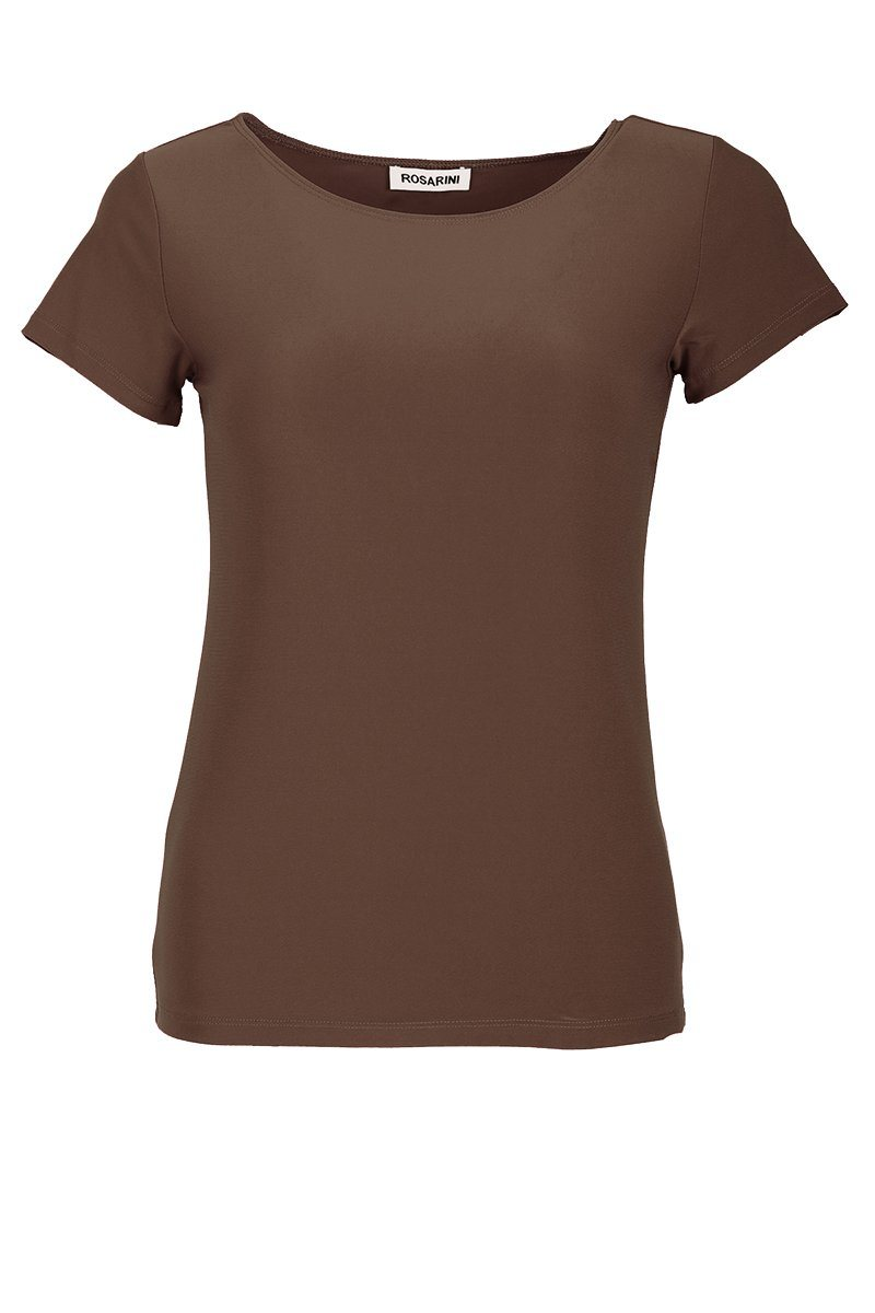 Women's Taupe Basic T-Shirt Short Sleeve Rosarini