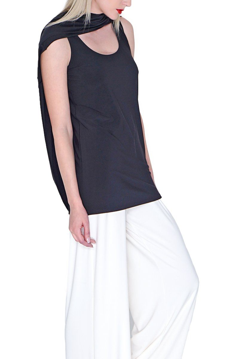 Women's Black Long Line Singlet Rosarini