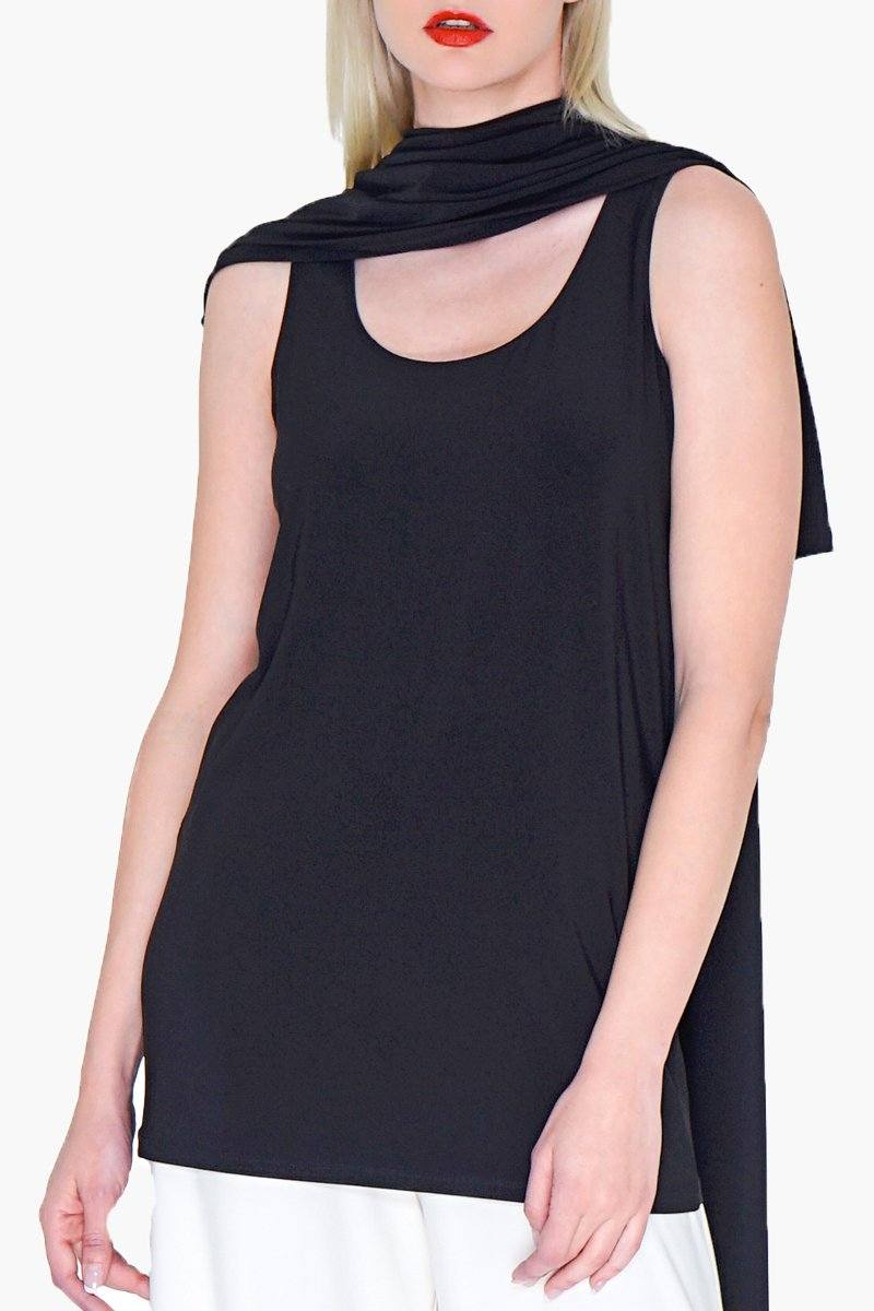 Women's Long singlet black sleeveless tank top