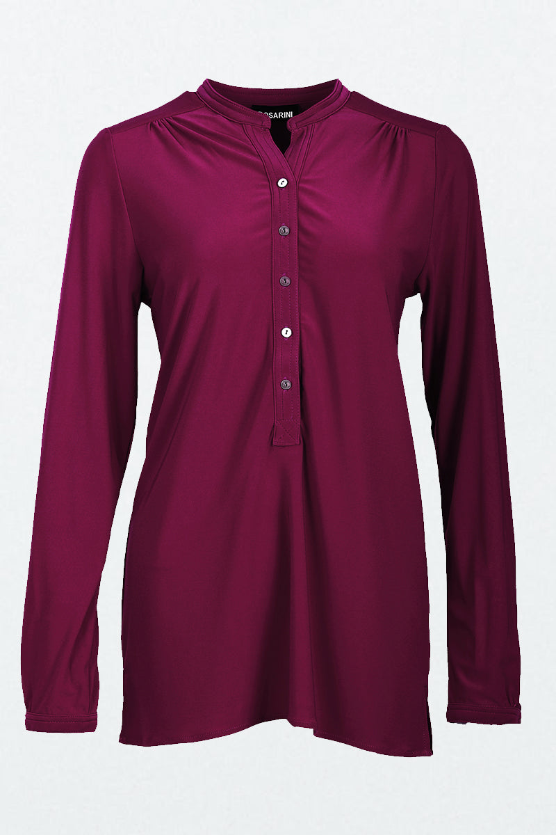 Long Sleeve Half Button Shirt Wine