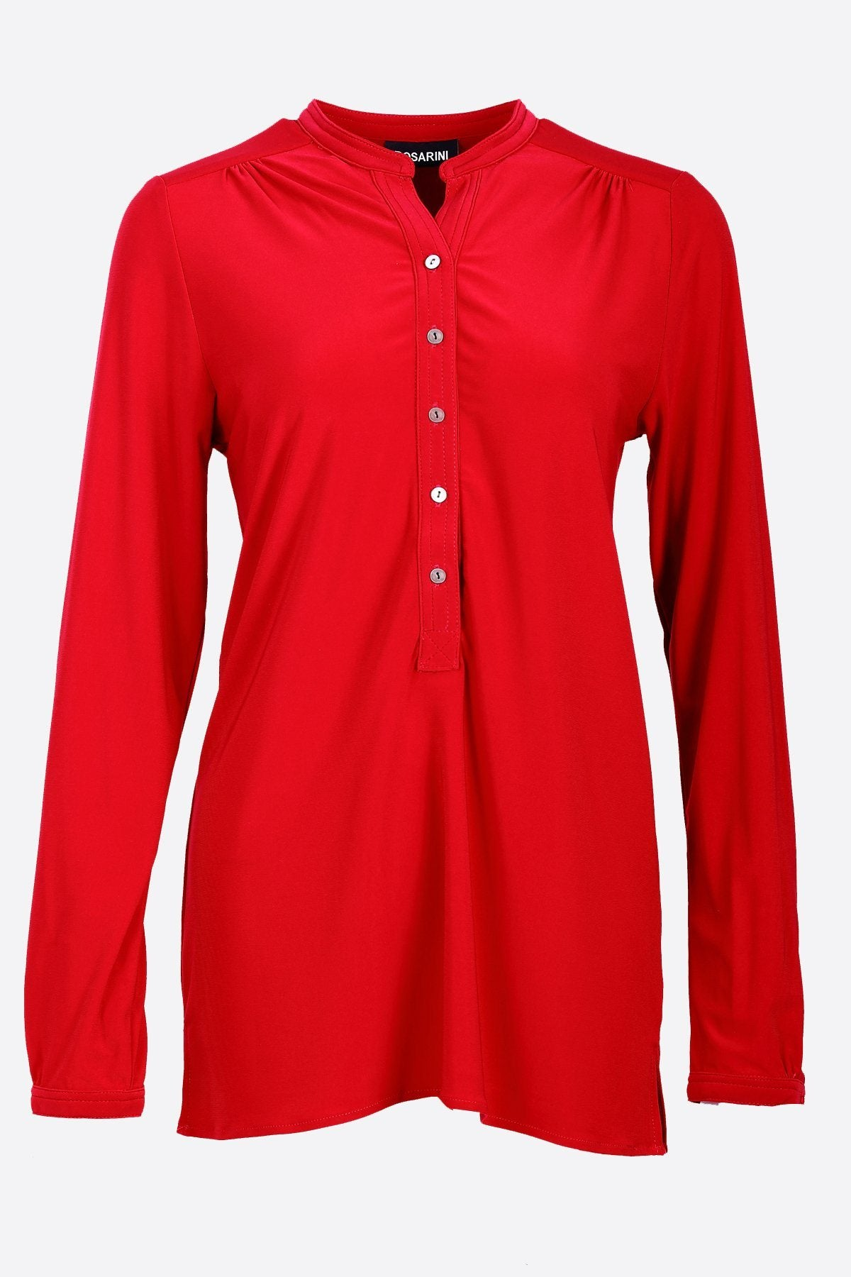 Long Sleeve Half Button Shirt red