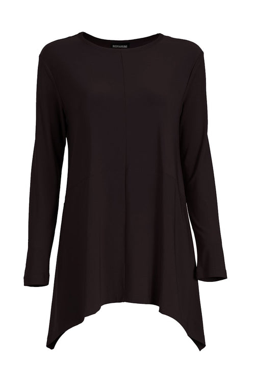 Curved Cross Top Black Long Sleeve Rosarini