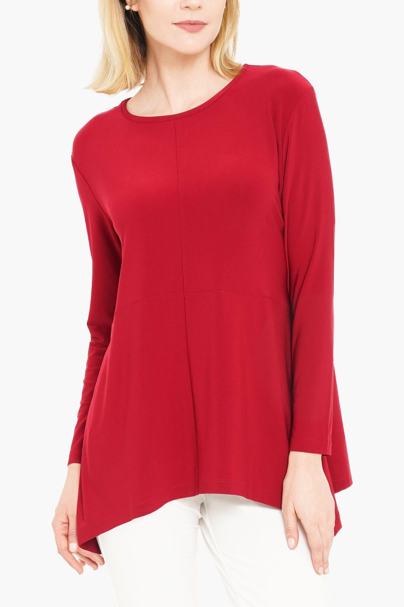 Women's Red Long Sleeve Curved Cross Top