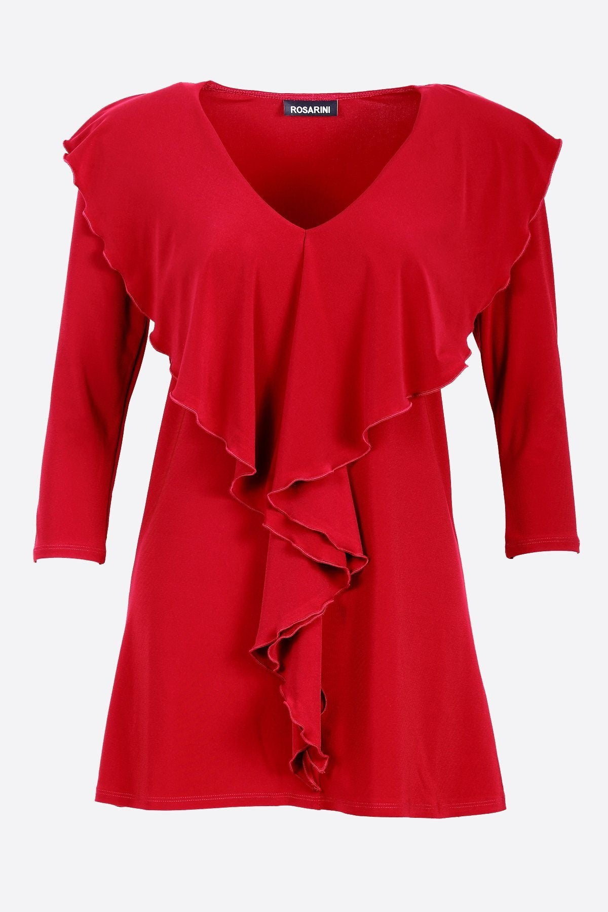 3/4 Sleeve Ruffle Blouse red