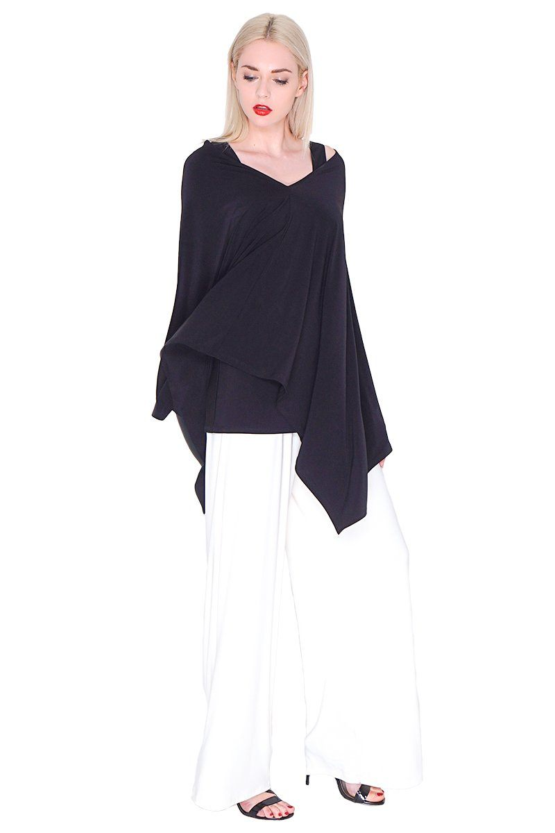 Black Poncho For Women - ROSARINI