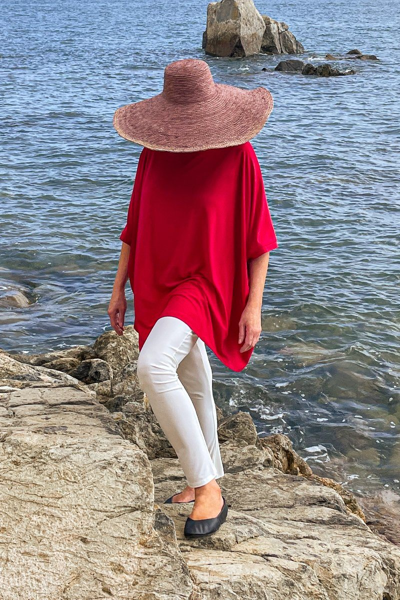 Women's Watermelon Red Oversized Boxy Poncho Top