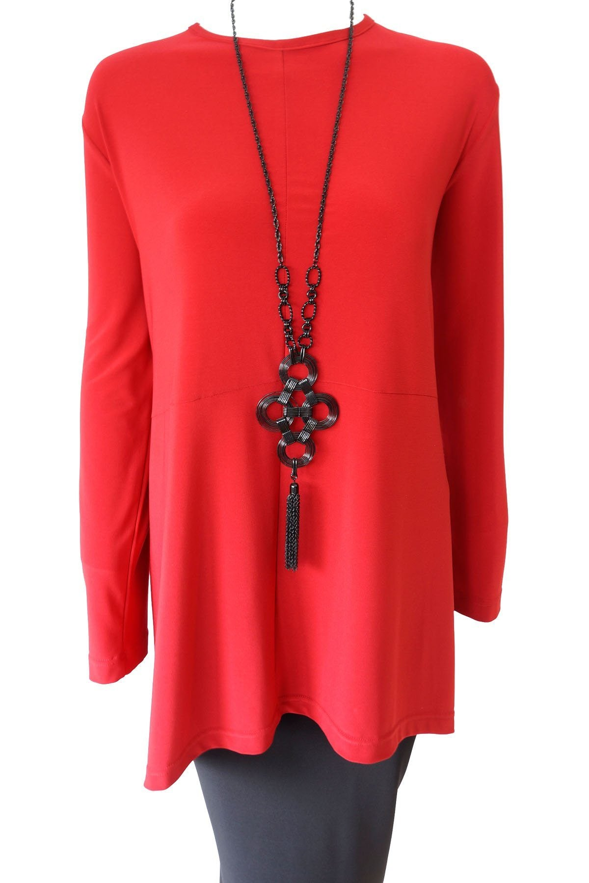 Curved Cross Top Red Long Sleeve Rosarini