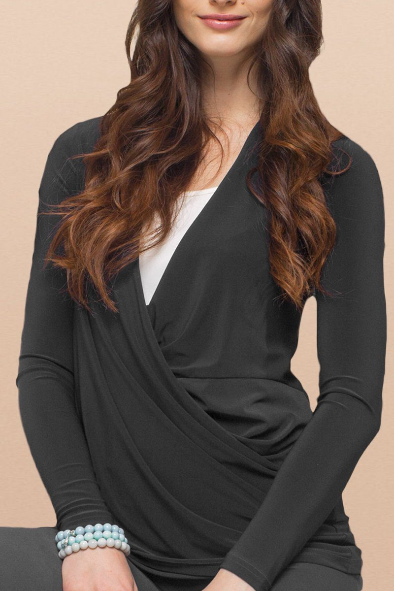 Long Sleeve Crossover Top (Plus Size) - Women's Clothing -ROSARINI