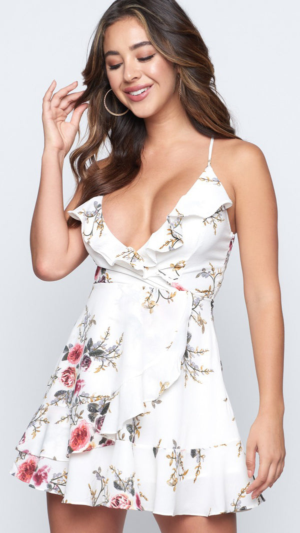 Tell Me Now Dress in White Floral