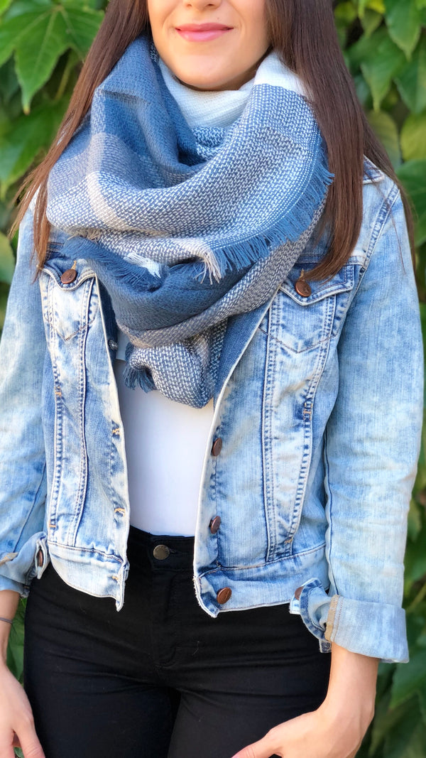 Chloe Scarf in Blue Plaid - FINAL SALE
