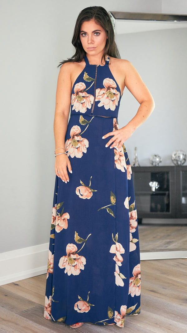 Midnight Kiss Dress in Navy Floral