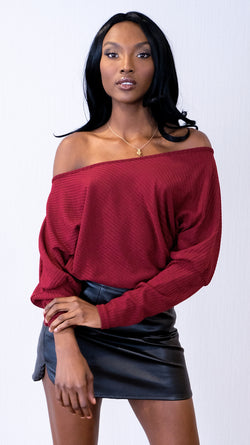 Scarlet Sweater in Wine Red