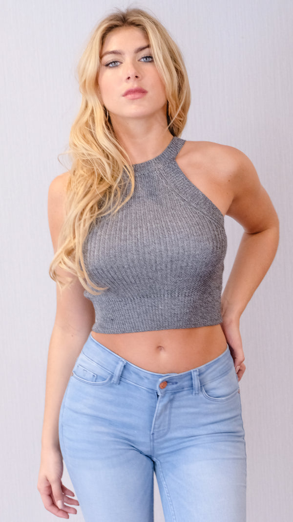 Leigh Crop Top in Slate Grey