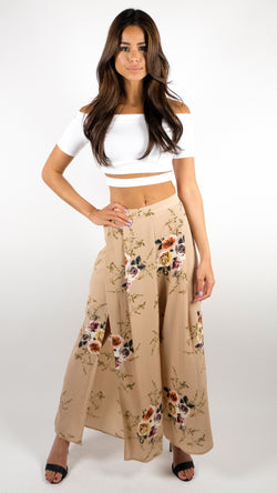 September Love Pants in Beige Floral
