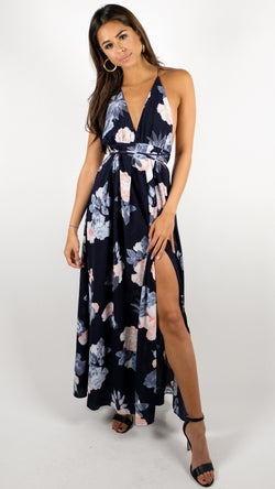 Good Vibes Only Dress in Navy Floral