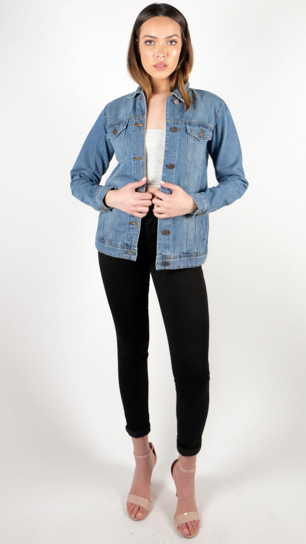 NOISY MAY Boyfriend Denim Jacket Dark Wash